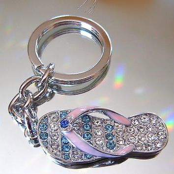 Flip Flop Sandal Key Ring with Heart, Swarovski Rhinestones