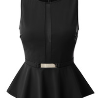 LE3NO Womens Classy Fitted Sleeveless Round Neck Mesh Peplum Top