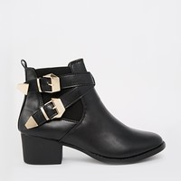 Truffle Jet Buckle Strap Ankle Boots - Black