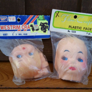 Vintage Westrim Fiber Craft Craft Doll Faces Head Smiley Face New Old Stock Set of 2