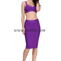 Norboe Purple Elegant Bandage Dress_Two piece_DRESS_NORBOE