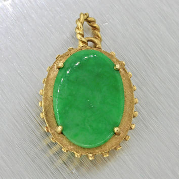 1970s Vintage Estate 14k Solid Yellow Gold Jade Necklace Pendant