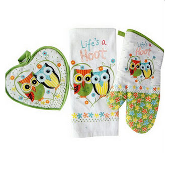 3pcs set europe cotton oven mitt beautiful owl printing Insulation baking gloves towel mat set home textile kitchen supply