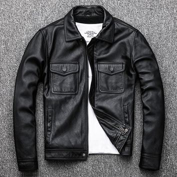 Free .Brand classic men cowskin Jackets,men's genuine Leather jacket.casual business coat,plus size vintage clothing