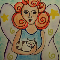ACEO Fairy with Kitty SFA Miniature Art