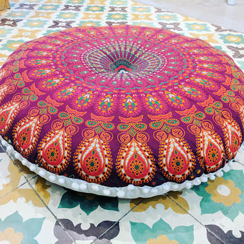 Meditation Cushion Round Tapestry Pillow Round Floor Cushion Pouf Seating Round Tapestry Ottoman FILLER NOT INCLUDED