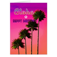Palm Trees in the Sunset Birthday Card