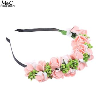 Women Hair Accessories Girl Beach Party Bride Wedding Headband Floral Headdress Flower Hairband 3Colors