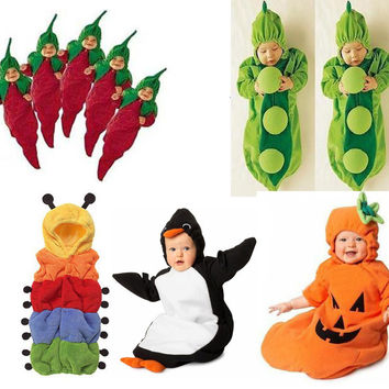 boys girls Baby sleeping bag Cartoon shape Chili Penguin Pumpkin Peas Caterpillar Fleece children sleeping bags Christmas