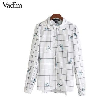 Women sweet floral embroidery plaid shirt long sleeve peter pan collar blouse female casual street wear tops
