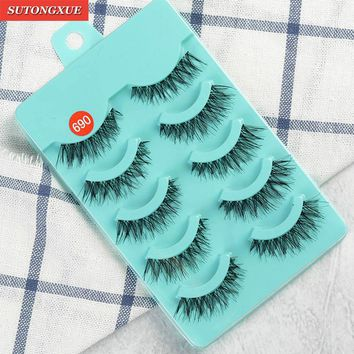 5 Pairs Women Lady Natural Long Soft Black Fake Eye Lashes Handmade Thick Fake False Eyelashes Makeup Tools