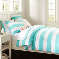 Cottage Stripe Duvet, Full/Queen, Pool