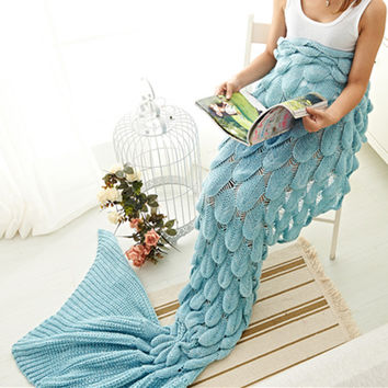 Mermaid Tail Blanket Super Soft Sleeping Bed Crochet Mermaid Blanket Knitted -3Colors