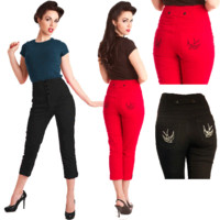 Steady Clothing Swallow Capri 3/4 Pants | Rockabilly | Pin Up | Retro