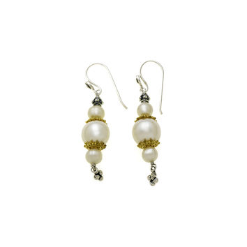 Artknots Gold Sterling Silver Pearl Drop Earring