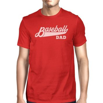 Baseball Dad Men's Red Unique Design T Shirt For Dad Birthday Gifts