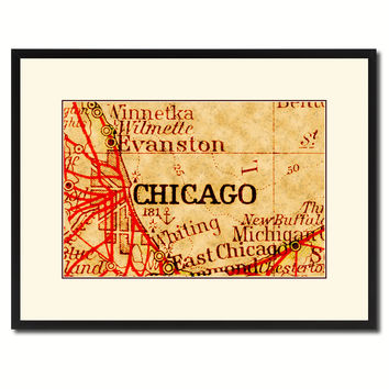 Chicago Illinois Vintage Antique Map Wall Art Home Decor Gift Ideas Canvas Print Custom Picture Frame