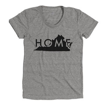 Virginia Home Womens Athletic Grey T Shirt - Graphic Tee - Clothing - Gift