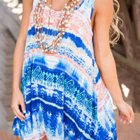 Summer Blue Printed Sleeveless Mini Straps Dress