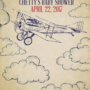 Custom Airplane and Clouds Baby Shower Backdrop Vintage Background (ANY TEXT) Birthday, Graduation - C0174