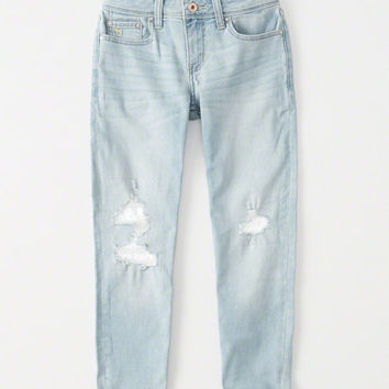 girls lace ripped girlfriend jeans | girls bottoms | Abercrombie.com