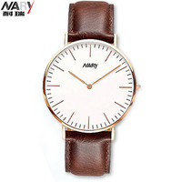 NARY Simple Elegant Brand Quartz Lover Watch High Quality Leather Men New Business Watches Multicolor Women Beautiful Wristwatch