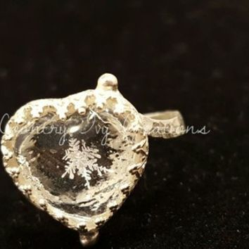 Real Snowflake Ring, Sterling Silver, Snowflake, Engagement Ring, wedding ring, Promise ring, Unique gift, Ring, OOAK, Heart