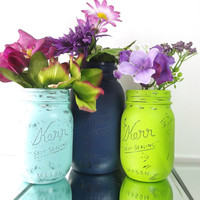 Distressed, Hand Painted Mason Jars - Set of Three (3) Mason Jars | Rustic, Home Decor -- Navy, Light Blue and Lime Green Painted Jars