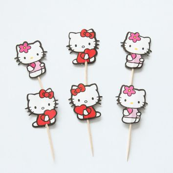 24pcs/lot Cute Hello Kitty Cupcake Topper Pick Birthday Party Decorations Kid Evnent Favors Wedding Decoration Party Supplies