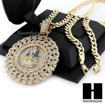 ICED OUT L PHARAOH ROUND PENDANT & DIAMOND CUT CUBAN LINK CHAIN NECKLACE NN51
