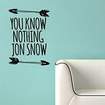 Game of Thrones Inspired You Know Nothing Jon Snow Vinyl Wall Decal Sticker