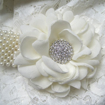 Romantic Ivory Chiffon Flower Pearl Cuff Wrist Corsage with Gorgeous Rhinestone Accent Bride Mother of the Bride and Groom Bridesmaid Prom