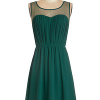 ModCloth Mid-length Sleeveless A-line Exquisite on the Equinox Dress in Emerald