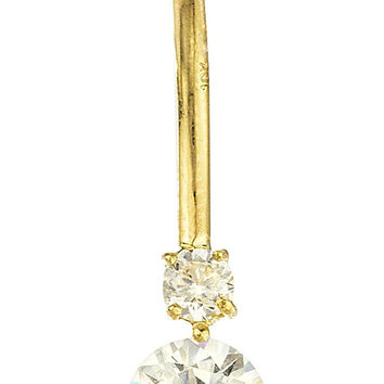 10k Yellow Gold Cubic Zirconia Simple Belly Button Ring