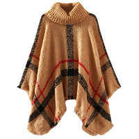 Light Brown Plaid Turtleneck Cape Sweater