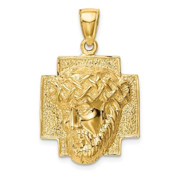 14K Yellow Gold Gold Polished 2-D Large Jesus Head with Crown Pendant