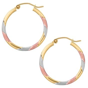 10k Tricolor White Yellow And Rose Gold Satin And Shiny Round Hoop Earrings, Diameter 25mm