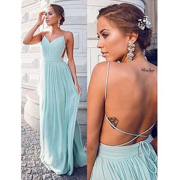 abendkleider Maid of Honer wedding Guest 2016 Backless Spaghetti Straps Chiffon Formal Women Bridesmaid Dresses