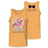 Simply Southern Hey Y'all Preppy Flamingo Chevron Girlie Bright Unisex Tank Top