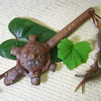Wall Hanging / Clay Turtle Rattle / Pottery Animal Rattle / Shaker / Instrument - Native American Inspired