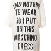 Moschino Nothing To Wear Sequin Shirt Dress White