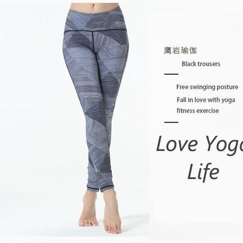 2018 Tie dye grey flower Printed High waistband pocket Straight Loose Yoga Sportswear ropa deportiva mujer gym