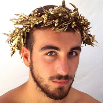 Man's crown, Gold Olive Leaf Headband, Natural headpiece, Romeo crown Costume, Greek God,  Caesar, Grecian Man