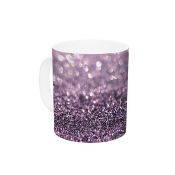 "Debbra Obertanec ""Lavender Sparkle"" Purple Glitter Ceramic Coffee Mug"