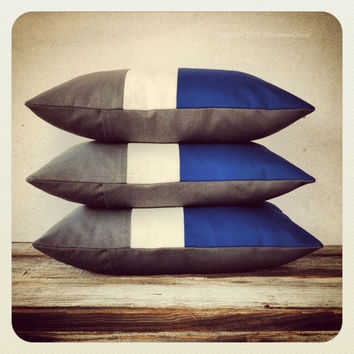 Indigo Blue Colorblock Pillow Cover - Stripe Trio Cobalt Gray White Monaco Blue