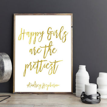 AUDREY HEPBURN PRINT,Printable art,Prints and quotes,wall art,home decor,gold print,Digitalprint,Inspirational print,Inspirational quote,