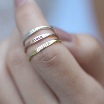 20% OFF*  Skinny Stackable Name Ring - Personalized Custom Name Ring - Longitude Latitude Ring - Custom Coordinates Ring - Skinny Name Ring