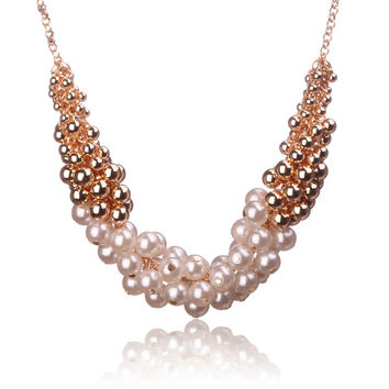 Tribal Collection Gold and White Pearl Multicolor Necklace