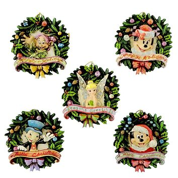 Jim Shore Disney Wreath Disc Ornaments Ornament Set