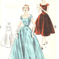 Vogue 1950s Sewing Pattern Evening Ball Gown Cocktail Garden Tea Dress Dart Fitted Bodice Full Flare Skirt Off Shoulder Neckline Bust 34